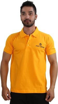 Just Differ Graphic Print Men's Flap Collar Neck Orange T-Shirt