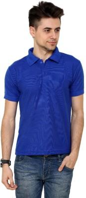 Grand Bear Solid Men's Polo Neck Blue T-Shirt
