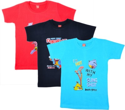 Sathiyas Printed Boy's Round Neck Red, Black, Light Blue T-Shirt