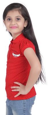 Triki Polka Print Baby Girl's Flap Collar Neck Red T-Shirt
