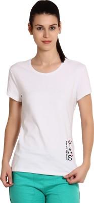 Yogaandsportswear Printed Women's Round Neck White T-Shirt