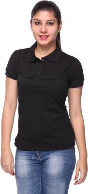 STRAWBERRY GIRL Solid Women's Polo Black T-Shirt