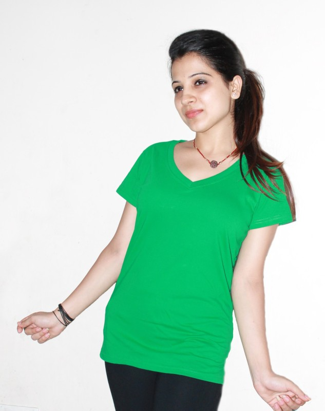 Xarans Solid Women's V-neck Green T-Shirt