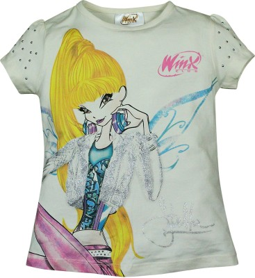 Winx Club Printed Girl's Round Neck White T-Shirt