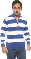 Spykar Men's Wear - Spykar Striped Men's Polo Neck Blue T-Shirt