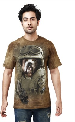 The Mountain Printed Men's Round Neck Brown T-Shirt