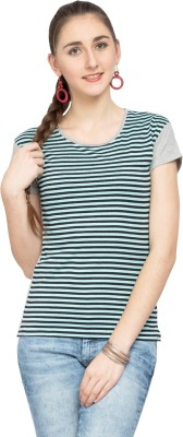 Alibi Striped Women's Round Neck Blue T-Shirt