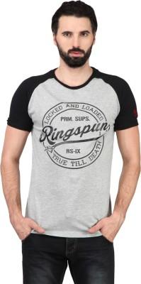 Ringspun Printed Men's Round Neck Grey T-Shirt
