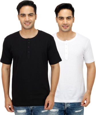 Candy House Solid Men's Henley Multicolor T-Shirt