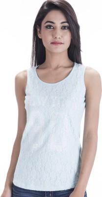 Peppermint Blues Self Design Women,s Round Neck T-Shirt
