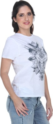Fast n Fashion Graphic Print Women's Round Neck White T-Shirt