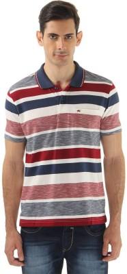 Monte Carlo Striped Men's Polo Neck Grey, Blue T-Shirt