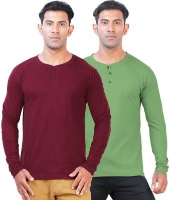 Click Hit Solid Men's Henley Maroon, Green T-Shirt