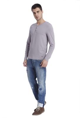 Jack & Jones Solid Men's Henley Grey T-Shirt