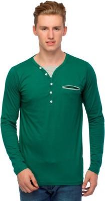 Martech Solid Men's V-neck Green T-Shirt