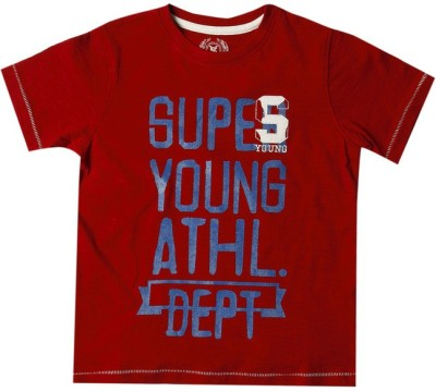 SuperYoung Printed Boy's Round Neck Red T-Shirt