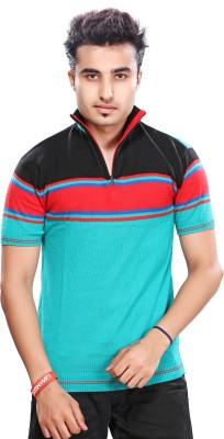 A33 Store Striped Men's Polo Neck Black T-Shirt