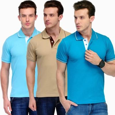 Scott International Solid Men's Polo Light Blue, Beige, Blue T-Shirt