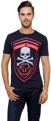Crux&Hunter Printed Men's Round Neck Black T-Shirt