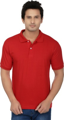Kaar Solid Men's Polo Neck Red T-Shirt