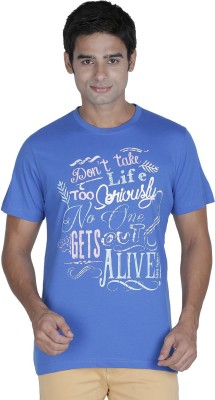 Element of Humanity Graphic Print Men's Round Neck Blue T-Shirt