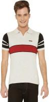 Mercury Men's Wear - ME Mercury Striped Men's Polo Neck White T-Shirt