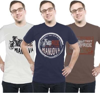 Mianuova Printed Men's Round Neck White, Brown, Blue T-Shirt
