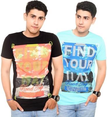 Zwizdot Printed Men,s Round Neck Black, Light Blue T-Shirt