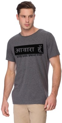 Young Trendz Printed Men's Round Neck Grey T-Shirt