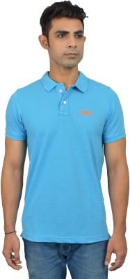 London Eye Solid Men,s Polo Neck Light Blue, Orange T-Shirt