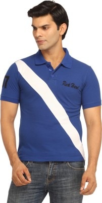Rockhard Striped Men's Polo Neck Blue T-Shirt