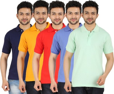 Garudaa Garments Solid Men's Polo Neck Multicolor T-Shirt
