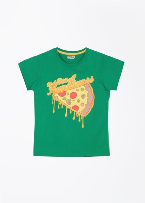 People Printed Boy's Round Neck Green T-Shirt