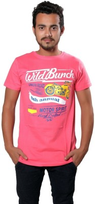 AR Printed Men,s Round Neck Pink T-Shirt