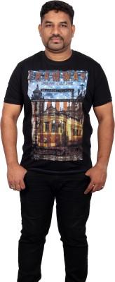 Xmex Graphic Print Men's Round Neck Black T-Shirt