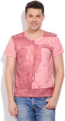 Indicode Printed Men's Round Neck Pink T-Shirt