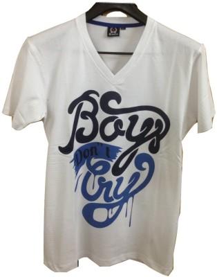 Rools Printed Men's V-neck White T-Shirt