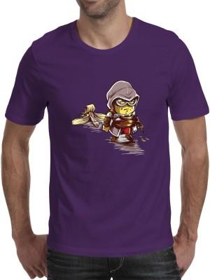 Fanideaz Printed Men's Round Neck Purple T-Shirt