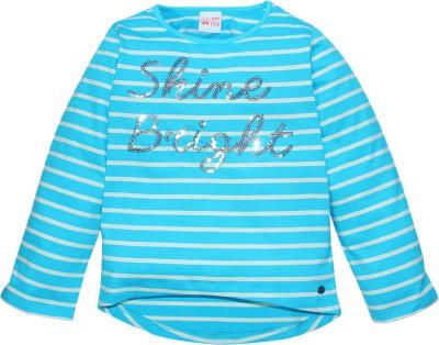 FS Mini Klub Striped Baby Girl's Round Neck Blue T-Shirt