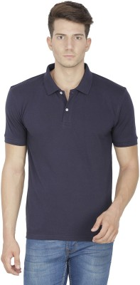 Sass Solid Men's Polo Neck Dark Blue T-Shirt