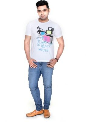 Menthol Solid Men's Round Neck White T-Shirt