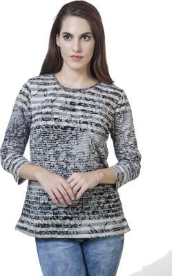 Rute Floral Print Women's Round Neck Black T-Shirt