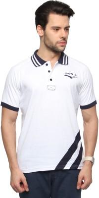 Zovi Solid Men's Polo Neck White T-Shirt