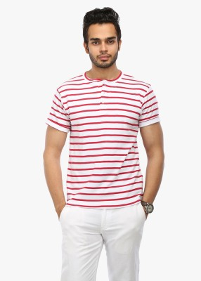 Wear Your Mind Striped Men's Henley White T-Shirt