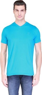 Clst Solid Men's V-neck Blue T-Shirt