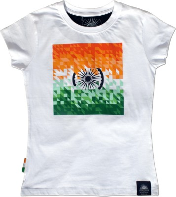 Tricolor Nation Graphic Print Womens Round Neck White T-Shirt