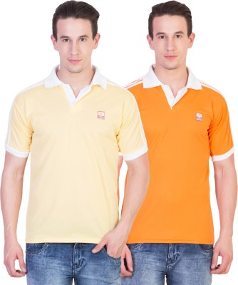 Ruby Wears Solid Men's Polo Neck Yellow, Orange T-Shirt