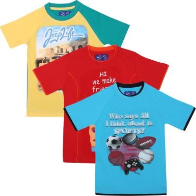 SPN Garments Printed Boy's Round Neck Blue, Orange, Yellow T-Shirt