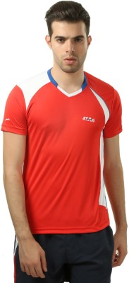 Stag Printed Men's Round Neck Red, White T-Shirt