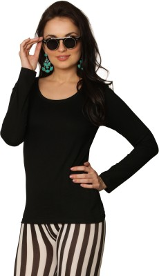 Miss Chase Solid Women's Round Neck Black T-Shirt